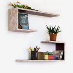 Blancho  Crutch-Shaped Leather Wall Shelf / Bookshelf  - Flower Bud