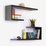Blancho  Crutch-Shaped Leather Wall Shelf / Bookshelf  - Glaring Zebra Stripes