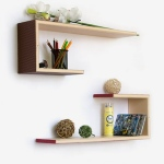Blancho  Crutch-Shaped Leather Wall Shelf / Bookshelf  - Elegance & Grace