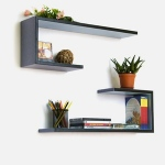 Blancho  Crutch-Shaped Leather Wall Shelf / Bookshelf  - Grayish Purple Grid