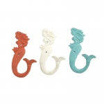 Benzara Adorable Metal Multicolor Mermaid Hooks, Assorted 3