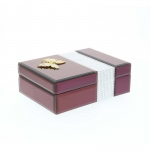 Benzara Attractive Wood Glass Jewelry Box, Wine Color