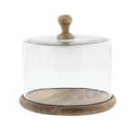 Benzara Achromous Glass And Wood Cloche