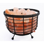 "Manhattan Comfort Accentuations By Manhattan Comfort 8"" Himalayan Wired Basket Lamp 1.0 With Natural Rocks  With Dimmer"