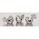 Benzara Adorable Set Of Three Ceramic Silver Birds