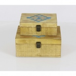 Benzara Addison Wood Box With Inlay Work, Set Of 2