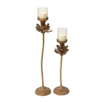 Benzara Adorable Metal Glass Candle Holder Set Of 2