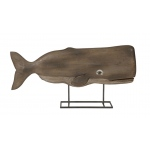 Benzara Achilles Carved Wood Whale Statuary
