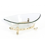 Benzara Achromatic Bowl With Metallic Base