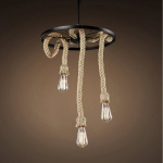 Warehouse of Tiffanys Lera 3-light Hemp Rope 18-inch Edison Chandelier With Bulbs