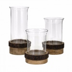 Benzara Achromatic Pillar Candleholders With Wood Stand - Set Of 3
