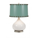 Benzara Abelie Table Lamp With Hammered Nail Design Fabric Shade