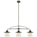 Warehouse of Tiffanys Laurette 3-light Black Steel 40-inch Edison Chandelier With Bulbs