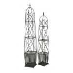 Benzara Adorable Set Of 2 Metal Trellis Planter