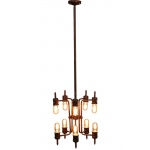 Warehouse of Tiffanys Loretta 10-light Rusty Metal 16-inch Edison Chandelier With Bulbs