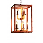 Warehouse of Tiffanys Lela 8-light Rectangular Rusty Steel 16-inch Chandelier