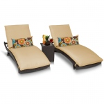 TK Classics Bali Chaise Set Of 2 Outdoor Wicker Patio Furniture With Side Table