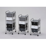 ACME Furniture Acme Myah Storage Cart With 4 Drawer, Chrome & Shades Of Gray