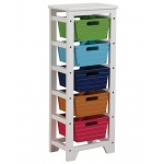 ACME Furniture Acme Darvin Storage Rack With 5 Baskets, Green, Blue, Dark Blue, Brown & Red