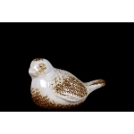 Benzara Adorable Antique Ceramic Bird Decorative In White & Brown
