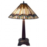 Warehouse of Tiffanys Exavyera Tiffany-style Stained-glass 2-light Table Lamp