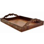 Benzara 15x11-inch Wooden Antique Look Tray With Handles, Brass Inlay