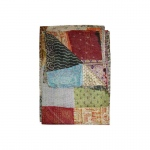 "Taj Hotel Kantha Silk Throw Quilt Blanket 60""x90"""