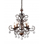Warehouse of Tiffanys Grace Antique Bronze And Crystal Drop Curved 5-light Chandelier