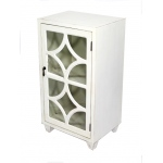 Heather Ann Creations Asia 1-door Accent Cabinet W/ Concave Diamond Glass Inserts