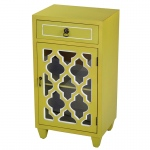Heather Ann Creations Aria 1-drawer, 1-door Accent Cabinet W/ Arabesque Glass Inserts