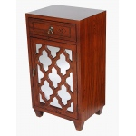 Heather Ann Creations Aria 1-drawer, 1-door Accent Cabinet W/ Arabesque Mirror Inserts
