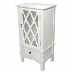 Heather Ann Creations Cottage 1-door, 1-drawer Accent Cabinet W/ Lattice Glass Inserts