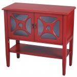 Heather Ann Creations Asia 2-door Console Cabinet W/ Circle Link Glass Inserts And Shelf