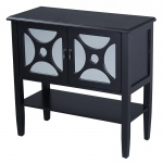 Heather Ann Creations Asia 2-door Console Cabinet W/ Circle Link Mirror Inserts And Shelf