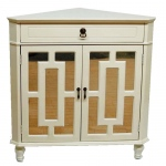 Heather Ann Creations Becker 1-drawer, 2-door Corner Cabinet W/ Lattice Mirror Inserts