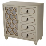 Heather Ann Creations Aria 1-door, 4-drawer Sideboard W/ Arabesque Mirror Inserts