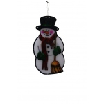 "Benzara 10"" Snowman With Broom Indoor Hanging Decor With 10 Led Lights / Each"