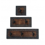 Benzara Classy And Attractive Wood Metal Wall Hook Set Of Three