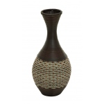 "Benzara 24""h Durable Wooden Polyresin Vase With Elaborate Design"