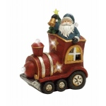 Benzara Adorable Led Santa With Engine Decor