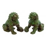 Benzara A Pair Of Guardian Ceramic Chinese Lions