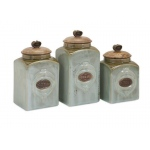 Benzara Addison Wooden Lid Ceramic Canisters Set Of Three Engraved With Tea Coffee And Sugar