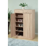 Benzara Adorning Shoe Cabinet With Adjustable Shelves, Brown