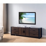 "Benzara 60"" Width Tv Stand With Frame Design Legs, Black And Dark Brown"