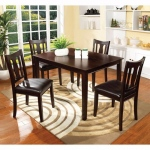 Benzara 5pc Dining Table Set, Chair With Pu Cushion, Walnut Finish