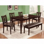 Benzara 6pc Dining Table Set, Chair With Pu Cushion, Expresso Finish