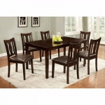 Benzara 7pc Dining Table Set, Chair With Pu Cushion, Expresso Finish