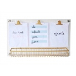 Benzara Acrylic Memo Board With Basket, Clear