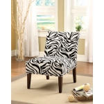 Benzara Aberly Armless Accent Chair, Black & White