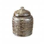 Benzara Abstract Patterned Decorative Ceramic Covered Jar, Silver